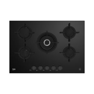 Image of Beko HILW75322S 5 Burner Black Stainless steel Gas hob (W)750mm
