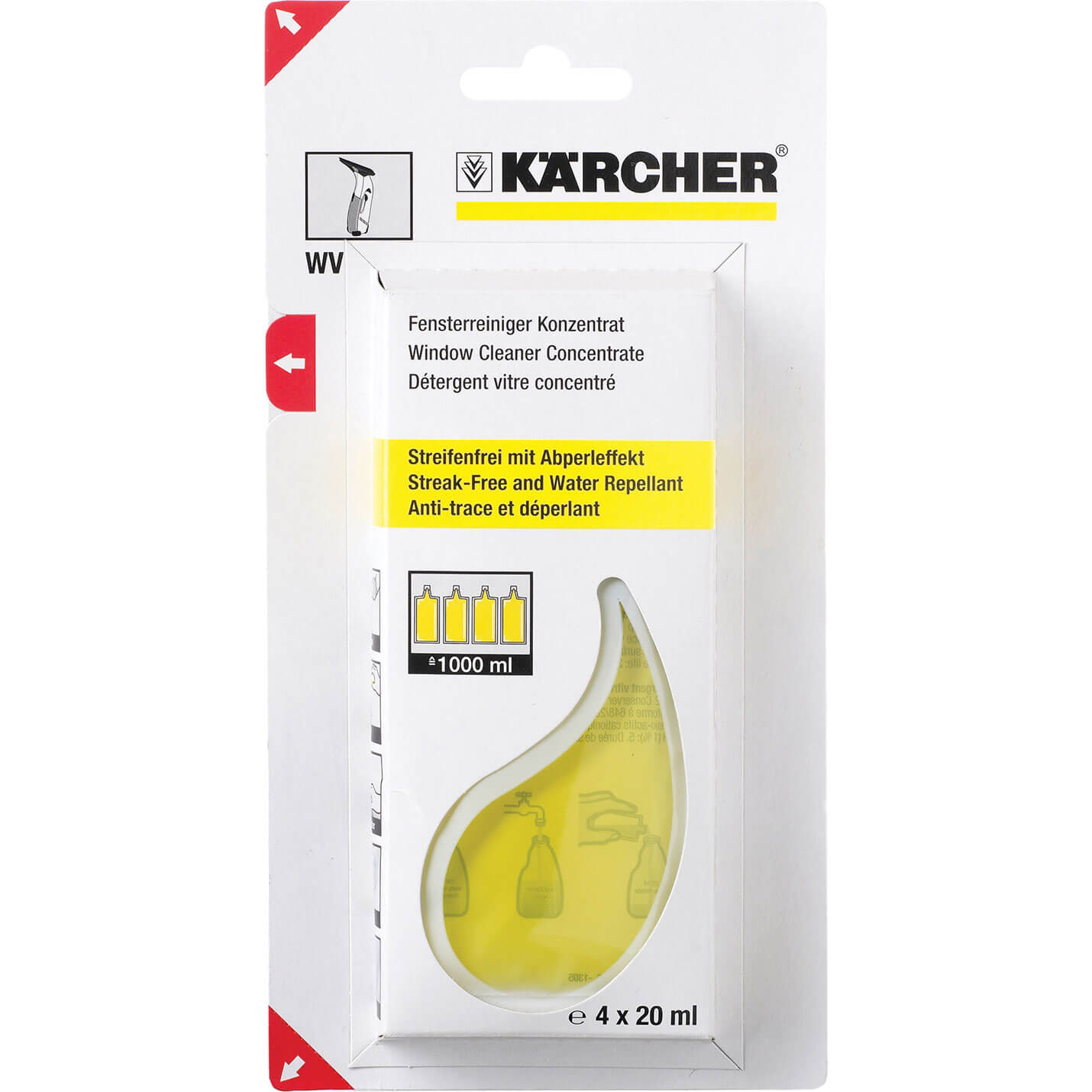 Image of Karcher Concentrated Glass Cleaner 20ml for Karcher Window Vacs Pack of 4