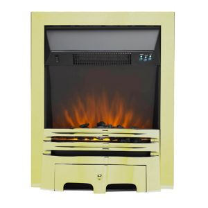 Image of Sirocco Westerly LED Remote control Brass & Black Electric Fire