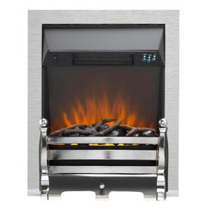 Image of Sirocco Fairfield LED Remote control Brushed Steel/Black Electric Fire