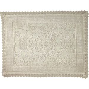Image of Marinette Saint-Tropez Platinum Beige Floral Cotton Bath mat (L)500mm (W)700mm