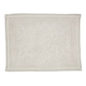 Image of Marinette Saint-Tropez Platinum Cream Floral Cotton Bath mat (L)500mm (W)700mm