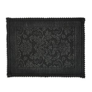 Image of Marinette Saint-Tropez Platinum Black Floral Cotton Bath mat (L)500mm (W)700mm