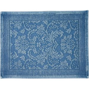 Image of Marinette Saint-Tropez Platinum Light blue Floral Cotton Bath mat (L)500mm (W)700mm