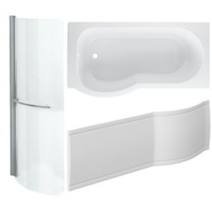Image of Cooke & Lewis Adelphi P shaped Shower Bath panel & screen (L)1500mm (W)800mm