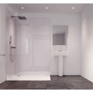Image of Splashwall White Single Shower Panel (L)2420mm (W)585mm (T)11mm