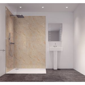 Image of Splashwall Tuscan Cream Single Shower Panel (L)2420mm (W)585mm (T)11mm