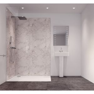 Image of Splashwall Tuscan White Single Shower Panel (L)2420mm (W)585mm (T)11mm