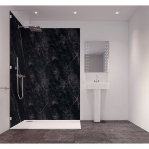 Image of Splashwall Tuscan Black Single Shower Panel (L)2420mm (W)585mm (T)11mm