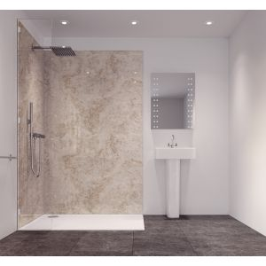 Image of Splashwall Tuscan Grey Single Shower Panel (L)2420mm (W)585mm (T)11mm