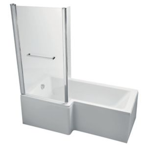 Image of Ideal Standard Imagine LH Acrylic L shaped Shower Bath front panel & screen (L)1695mm (W)850mm