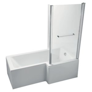 Image of Ideal Standard Imagine RH Acrylic L shaped Shower Bath front panel & screen (L)1695mm (W)845mm