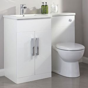 Image of Cooke & Lewis Ardesio Gloss White Left-handed Vanity & toilet unit